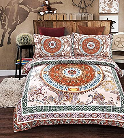 Imperial Rooms Duvet Set inc Duvet cover and Two Pillow cases - Bohemian Moroccan Medallion Boho (King,