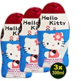 HELLO KITTY 2 in 1 Shampoo & Bath Gel 3 x 300ml (900ml) - Kinder Shampoo Duschgel