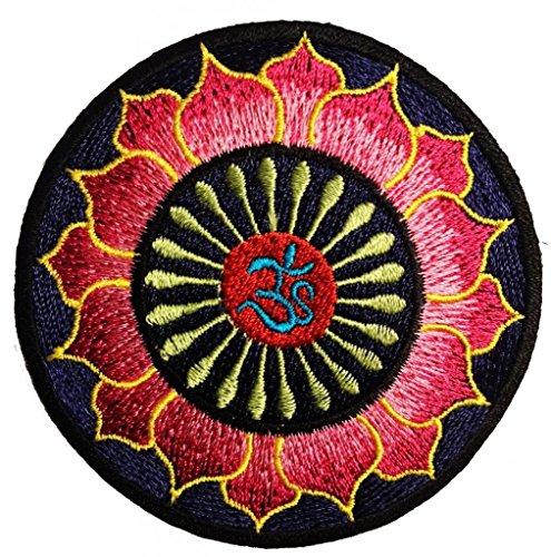 Om Zeichen Simbolo Om Blau Rosa Lotus Yoga Om Om meditazione spirituale indù Simbolo Hartha Yoga Inner Peace Patch '' 7,9 x 7,9 cm '' - Toppa Patches Toppa Toppa Termoadesiva Toppa Termoadesiva Per Stoffa Ricamato Toppa Embroidered Patch