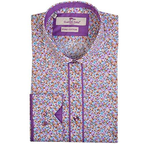 Claudio Lugli chemise lilas mens imprimé floral Lilac 3XLarge (Lilac Chemise)