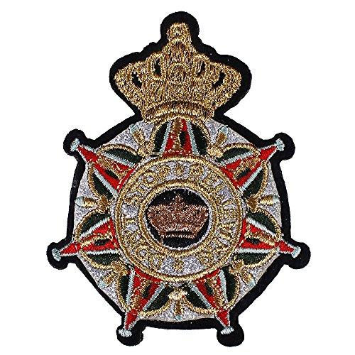 1x gold metallic Kreuz Abzeichen Stoff Patches Stickerei Eisen auf Aufkleber Aufnäher Kleidung Craft verziert Nähen D (Verziert Kleidung)