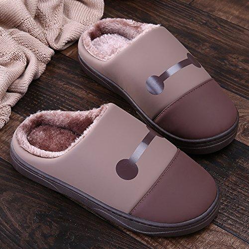 Coppie fankou pantofole di cotone femmina interna spessa sacchetto impermeabile con graziosi home antiscivolo uomini morbido Himmelblau