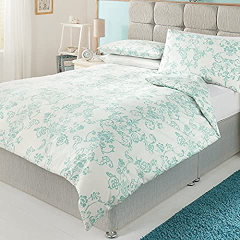 Stylish Cotton Rich Percale Heirloom Damask Duvet Set Single Sized - 135 x 200 cm and one pillowcase 48 x 74 cm