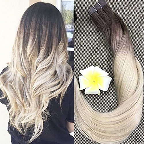 Full Shine 22 Zoll Echthaar Tape in Remy Extensions Multi Color #3/8/613 Braun mit Blonde 20 Pieces Silky Glatt Tape Extensions Echthaar 50g