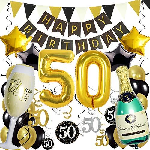 ZERODECO 50. Geburtstag Dekoration, Schwarz Gold Happy Birthday Banner 50. Nummer Goldfolien-Ballone Champagnerflaschen sternförmige Folienballon Hängende Strudel Dreieckige Wimpel Party Zubehör Set (Ballons Geburtstag 50)