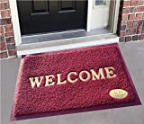 #6: Yellow Weaves™ Dust remover PVC Welcome Doormat for Offices,Hotel ,Restaurant, Home,Shop -Color- Maroon, Size : 38.1 Cm X 58.4 Cm