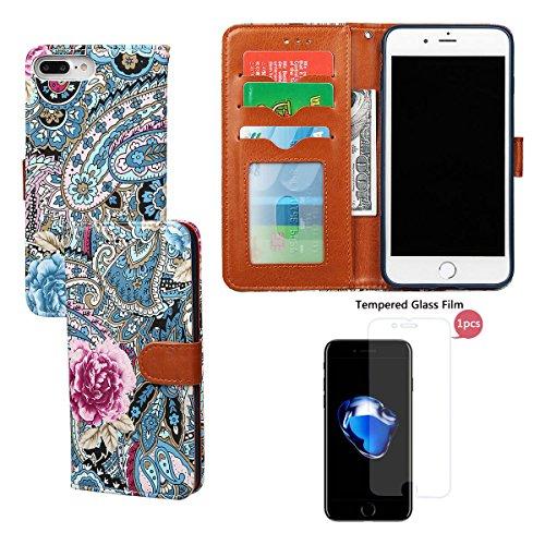 """Wallet Case Hülle für iPhone 7 Plus, xhorizon FLK Weinlese Retro Blumenmuster Leder Brieftasche Fall Wallet Case Mit Perfektion Prime Design für iPhone 7 plus [5.5""""] blau+Stahlfolie"""