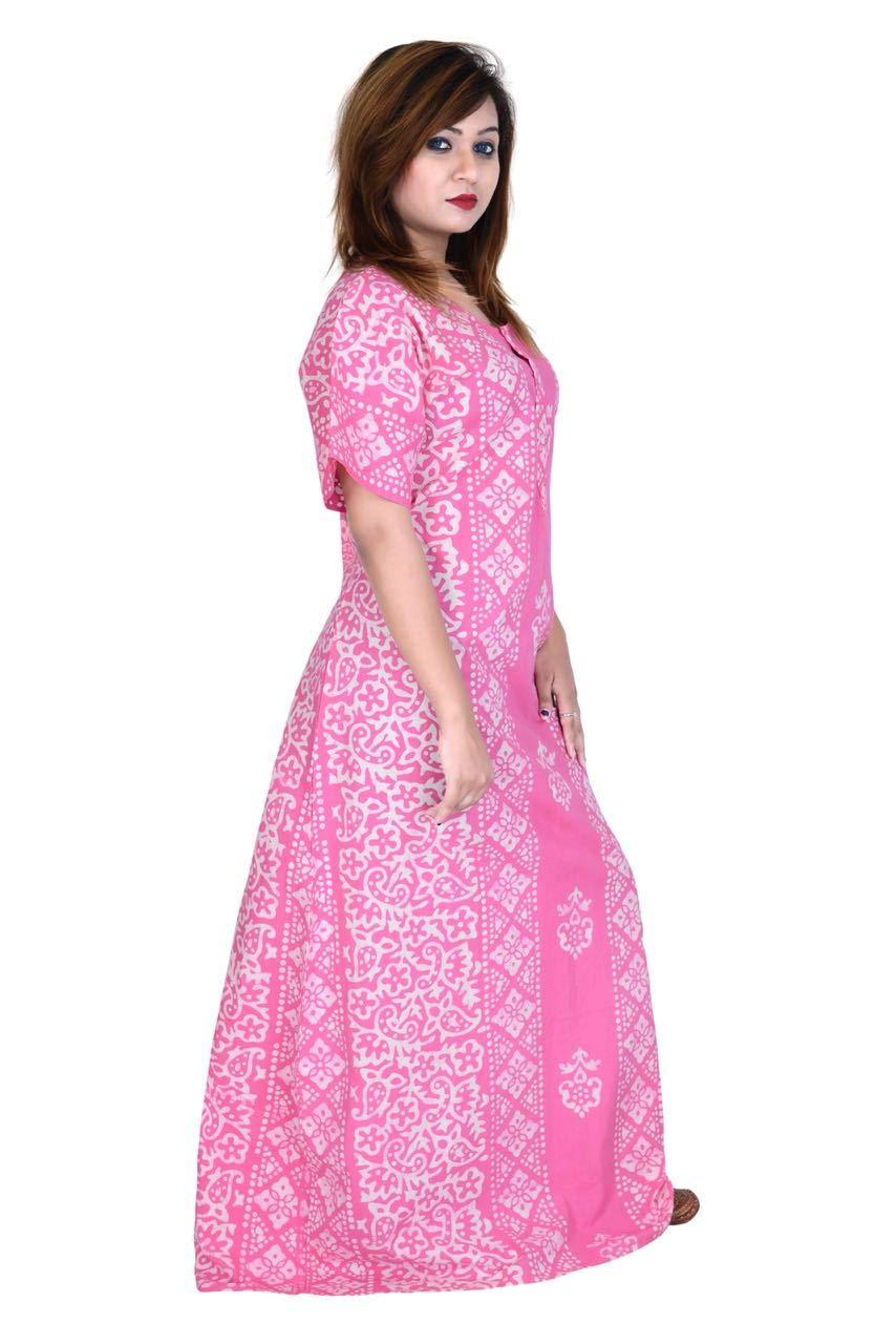 228ecb250c Preeti Textiles Batik Handmade Wooden Block Print Cotton Women Gown/Night  ...
