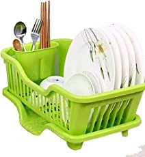 Swabs™ 3-in-1 Plastic Kitchen Sink Dish Drying Rack(Multicolour, 44x24x14cm)Kitchen Sink Dish Drainer and Drying Rack Washing Basket with Removable Tray The Washing Holder Basket Organizer Tray Size 44 X 24 X 16 cm, This Dish Stand Made of Good Quality Plastic