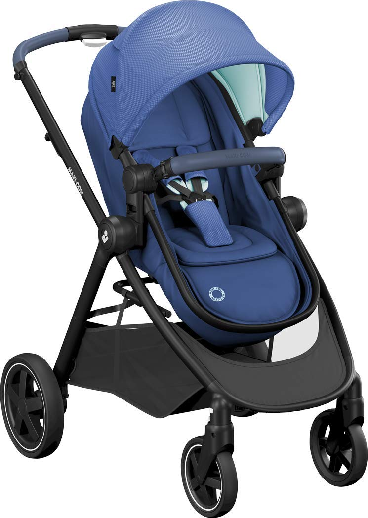 Maxi-Cosi Zelia Baby Pushchair, Lightweight Urban Stroller from Birth, Travel System with Bassinet, 15 kg, Essential Blue Maxi-Cosi Flexible stroller from birth to 3.5 years 2-in-1 seat unit: zelia's seat transforms into a pram bassinet for use from 0 - 12 m in a single movement This city stroller is easy to carry thanks to its lightweight 2