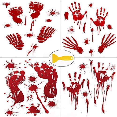 Kalolary Unique Halloween Sticker, Halloween Blutige Aufkleber Realistisch Große schaurige Blutige Handabdrücke Fußabdrücke Dekorationenmit met Einem Kunststoffschaber(8 ()