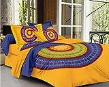 #4: SheetKart Mandala 144 TC  Cotton Double Bedsheet with 2 Pillow Covers - King Size, Bright Yellow