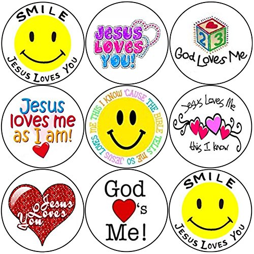 144-smile-jesus-loves-you-30mm-childrens-christian-reward-stickers-church