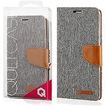 EGO® Etui Tipo Libro Carcasa con Función de Soporte para Samsung Galaxy S6 Gris Carcasa con Cierre Magnético con Ranuras para Tarjetas Cartera Protección de Lienza para móvil