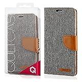 EGO® Bookstyle Handy Tasche mit praktischer Aufstellfuntkion für LG G5 Grau Flip Case Magnetverschluss Book Cover mit Kartenfach Wallet Stand Schutz Hülle Canvas