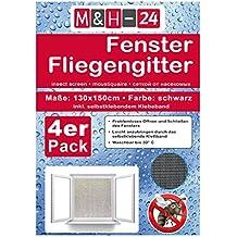 individuell k/ürzbares Fliegennetz 8er Set Fliegengitter Fenster 1,3m x 1,5m in schwarz mit Klettband Moskitonetz Insektenschutz Witterungsbest/ändig