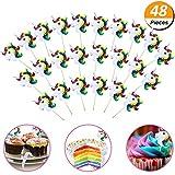 Mcree 48-Pack Einhorn Cupcake Topper Plektrum Plektron Picks, Doppelseitig Einhorn Horn und Picker für Geburtstag Baby Dusche Party Dekorationen Supplies