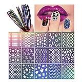 PIXNOR Nagelaufkleber Set mit 15 Blatt Schablonen und 15 Spulen von Nagel Striping Tapes (30 Stück insgesamt)