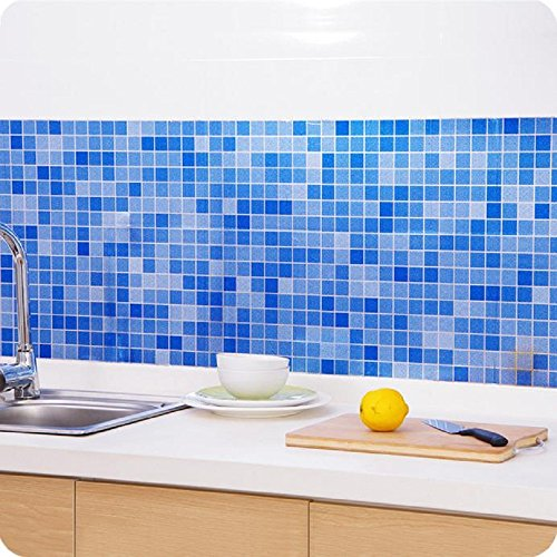 Indexp Waterproof Bathroom Toilet Tile Mosaic Wallpaper Self-Adhesive Aluminized Fire Resistant Kitchen Wall Stickers (Blue)