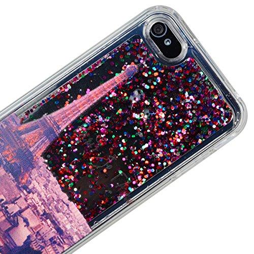 VemMore Coque pour iPhone 4 / iPhone 4s Silicone Gel Souple Flexible Soft Case Liquide Paillette 3D Couleur Transparente Bling Glitter Antichoc Housse Cover pour iPhone 4/4s ( Attrape Reve ) Paris