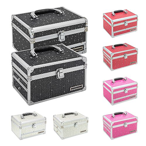 anndora® Schmuckkoffer Kosmetikkoffer + Spiegel Modell und Farbe zur Auswahl