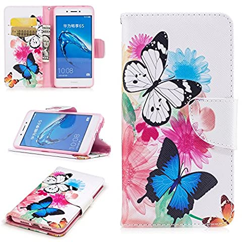 Meet de Huawei Honor 6C,Luxury Slim PU Leather Flip Protective Magnetic Wallet Cover Case,With Stand Function and Credit Card Slot - Chrysanthemum butterfly