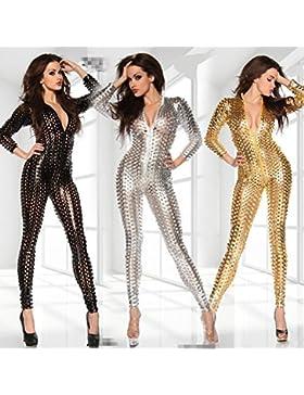 Sexy Mujer Wet Look Lingerie Hueco Charol Catsuit Agujero De Malla Bodysuit Club Ropa,Silver