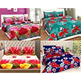 Shop4indians Super Saver Combo Pack Of 4- 3D Glace Cotton Double Bed Sheets With 8 Pillow Covers.