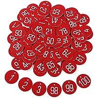 50 - 100 Etiqueta Roja Plástica Grabado Números Identificador para Llaves Armarios para llaves Cajones Gimnasio Oficina