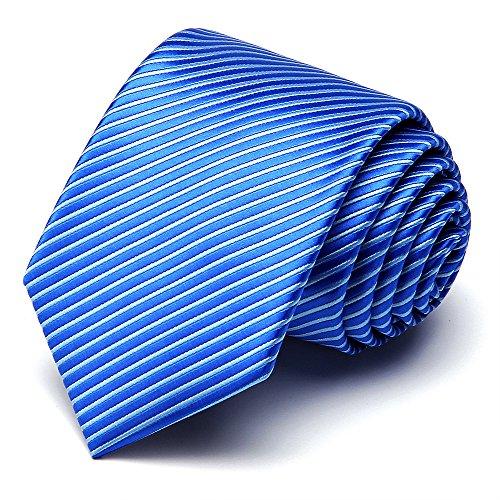 XIANGUO Herren Krawatte Fashion Streifen Muster Krawatte für Casual & Arbeitskleidung,One Size Blau (Krawatte Fit)