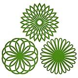 Silikon-Topfuntersetzer in Blumenform (3Stück) Premium-Qualität, isoliert, flexibel, robust, rutschfest grün