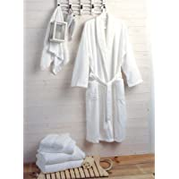 Hotel and Spa Quality Luxury Towelling Bathrobe 400gms 100% Cotton - White(Each)