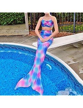 pepeng cola de la Sirenita Bikini Bañador para edad 4–10años niñas, juego de 2pcs Fancy swimmable sea-Maid...