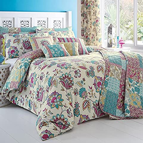 'Marinelli' Double Duvet Cover Set in Teal, Includes: 1x Double Duvet Cover and 2x Pillowcases