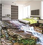 LHDLily 3D-Schönen Bucht Stein Fließendes Wasser Fußboden Fliesen Stereo Malerei Rutschfeste Verschleiß Stock Wallpaper 200cmX150cm