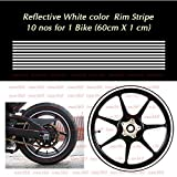 #7: isee360 Reflective Rim Stripe Decal For Car / Bike Decorative Stickers Water Resistance 10 nos Available for One Bike ( 60cm X 1 cm each one) (White)