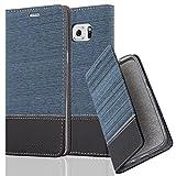 Cadorabo Hülle für Samsung Galaxy S6 Edge Plus - Hülle in DUNKEL BLAU SCHWARZ – Handyhülle mit Standfunktion und Kartenfach im Stoff Design - Case Cover Schutzhülle Etui Tasche Book
