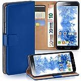 moex Samsung Galaxy S5 Mini | Hülle Blau mit Karten-Fach 360° Book Klapp-Hülle Handytasche Kunst-Leder Handyhülle für Samsung Galaxy S5 Mini Case Flip Cover Schutzhülle Tasche