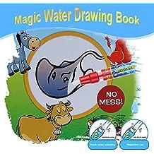 Goolsky Acqua magica non tossico disegno libro da colorare libro Doodle con penna magica animali non pittura nessun giocattolo educativo di inchiostro