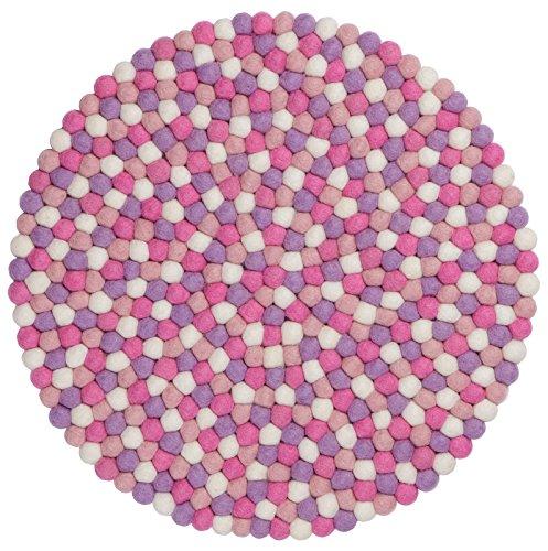 myfelt Filzkugel-Tischset/Platzdeckchen, rund, Schurwolle, rosa, Ø 36 cm