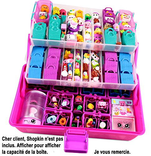 Felix and Wise Shopafun Toy Carrying Case and Organizer (2 Trays, 3 Levels and 2 Neoprene Mats) - Pink/ Purple
