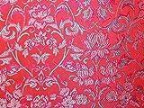 Oriental Floral Weave Brokat Kleid Stoff pink &
