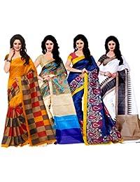 Trendz Women's Cotton Silk Sarees - Combo_Jolly_Mayurpankh_Gori_Botnikal-4 - Pack Of 4