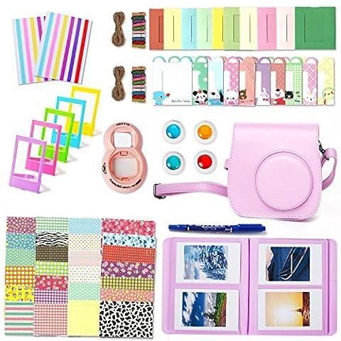 Wen & Cheng 10in 1Zubehör-Set für Fujifilm Instax Mini 8/8S: Kameratasche/Album/Selfie Objektiv/Filter/Tisch Frames/Wand aufhängen Rahmen/Grenze Aufkleber/Ecke Aufkleber/Pen–Pink