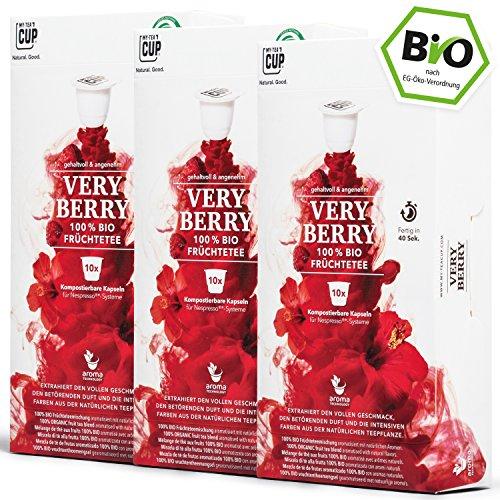 BIO Teekapseln von My-TeaCup | Kompatibel mit Nespresso®*-Maschinen | 100% kompostierbare Kapseln ohne Alu (Früchtetee Very Berry, 30 Kapseln)