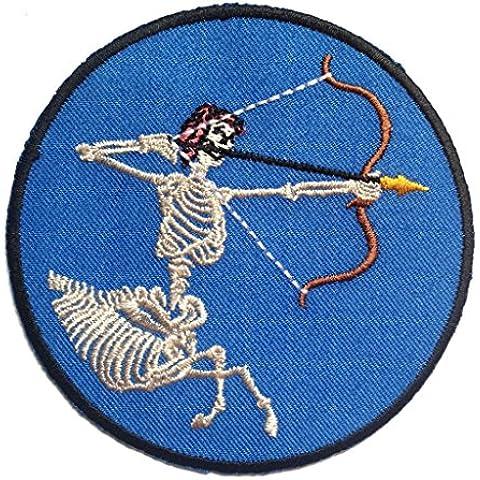 Toppe termoadesive - scheletro con arco - blu - Ø8.7cm