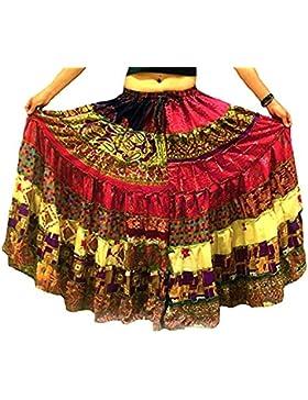 1 - 7 Yard Tribal Zigeuner Maxi Taille Rock Bauchtanz Röcke Silk Blend Banjara Für S M L XL, ONE SIZE 34 - 46