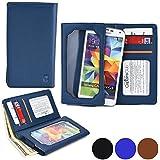 Funda Universal tipo Cartera Cooper Cases (TM) Infinite Wallet para Smartphone de Huawei Ascend D2 / P7 / Y600 / Y625 en Azul Lienzo (Superficie exterior de poliuretano, protector de pantalla incorporado, ranuras para tarjetas, compartimentos para tarjeta de identificación o carnets y billetes)