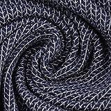 Bio-Jerseystoff Jacquard Grobmaschen Optik Hamburger Liebe Albstoffe Knit Knit Glam Edition Streifen dunkelblau Lurex 1,35m Breite