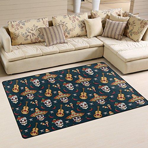 JSTEL INGBAGS Super weicher, moderner Halloween-Teppich für Wohnzimmer, Schlafzimmer, Teppich für Kinder, Spiel, Solider Heimdekorator, Bodenteppich und Teppiche, 78,7 x 50,8 cm, Multi, 31 x 20 inch